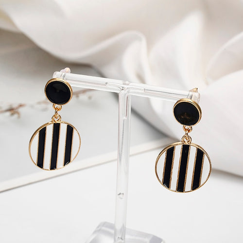 Unique Geometric Black and White Stud Earrings