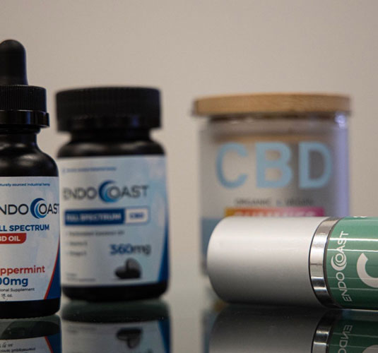 A close up shot of EndoCoast's CBD products