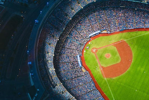 An aerial view of an MLB stadium field.