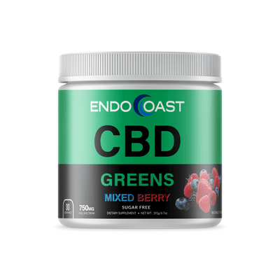 A bottle of EndoCoast's CBD Greens drink mix