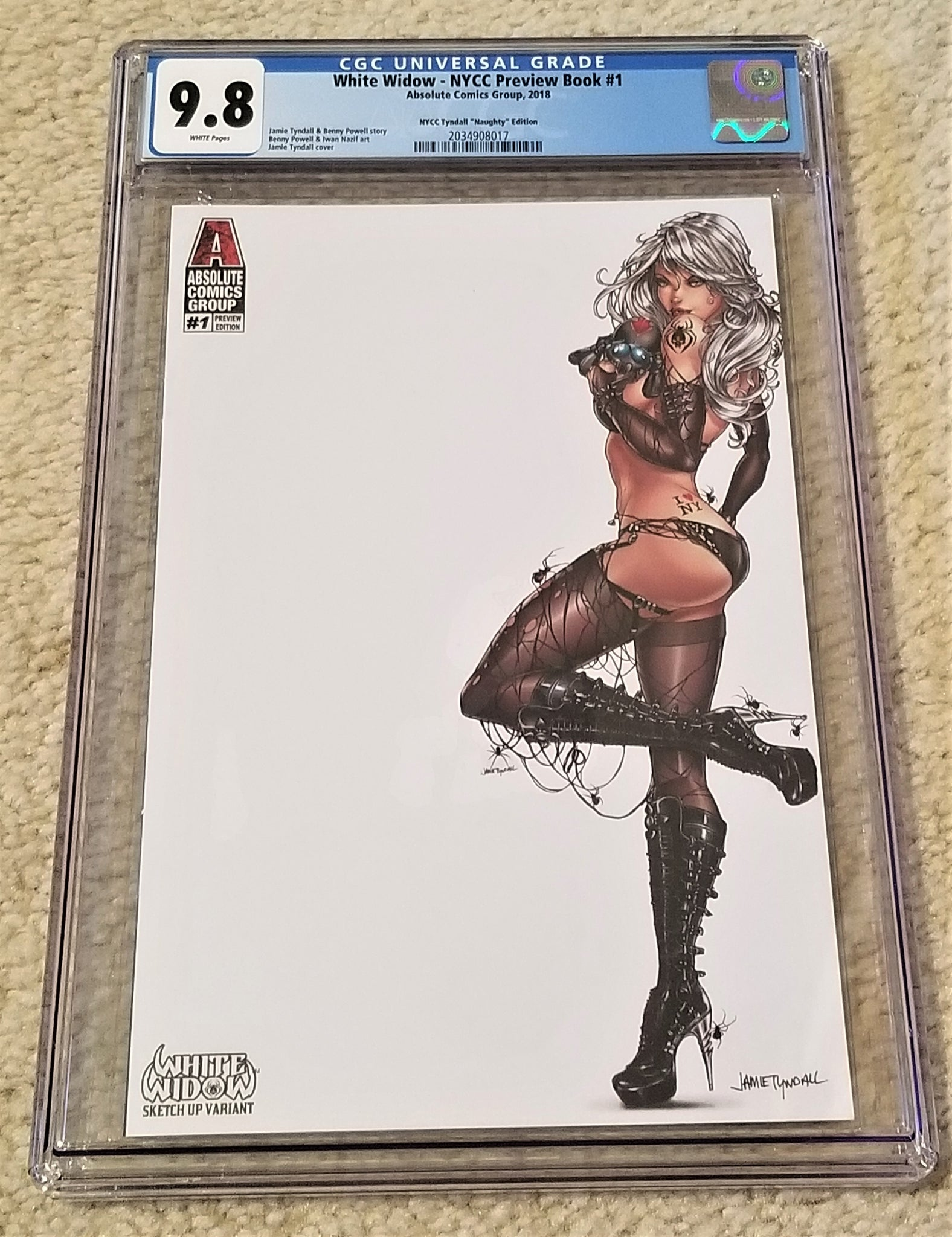 WHITE WIDOW #1 JAMIE TYNDALL NYCC PREVIEW VIRGIN VARIANT NM HTF ABSOLUTE COMICS