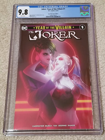 Joker 1 Year of the Villain Alex Garner Variant DC Comics Marvel Comics Batman Harley Quinn East Side Comics Comicxposure Exclusive cgc