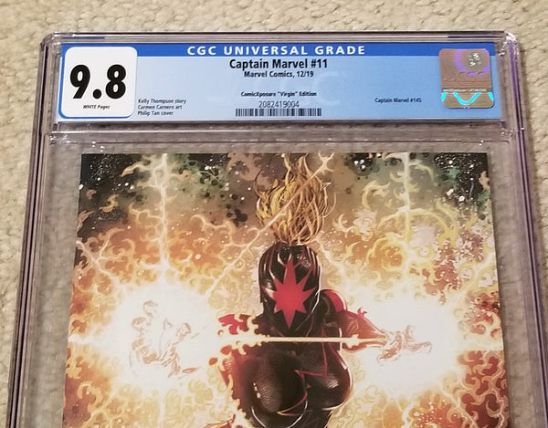 CAPTAIN MARVEL #11 CGC 9.8 PHILIP TAN FIRST DARK MARVEL / STAR VIRGIN VARIANT