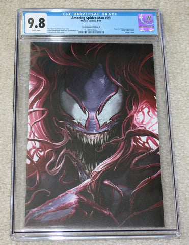 AMAZING SPIDER-MAN #29 CGC 9.8 FRANCESCO MATTINA VENOM MARY JANE VIRGIN VARIANT-D