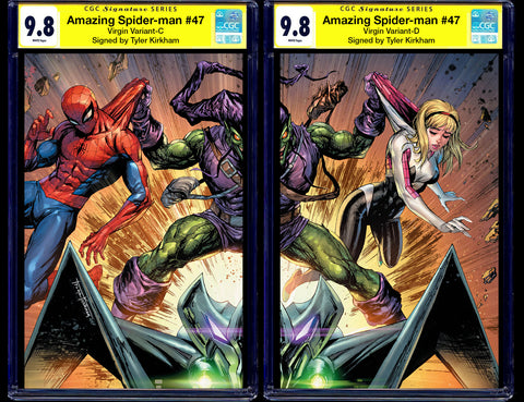 AMAZING SPIDER-MAN #47 CGC SS 9.8 SIGNED TYLER KIRKHAM GREEN GOBLIN VIRGIN VARIANTS