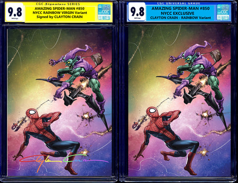 AMAZING SPIDER-MAN #850 (#49) CGC SS 9.8 NYCC EXCL CLAYTON CRAIN SIGNED VARIANT YELLOW & BLUE LABELS