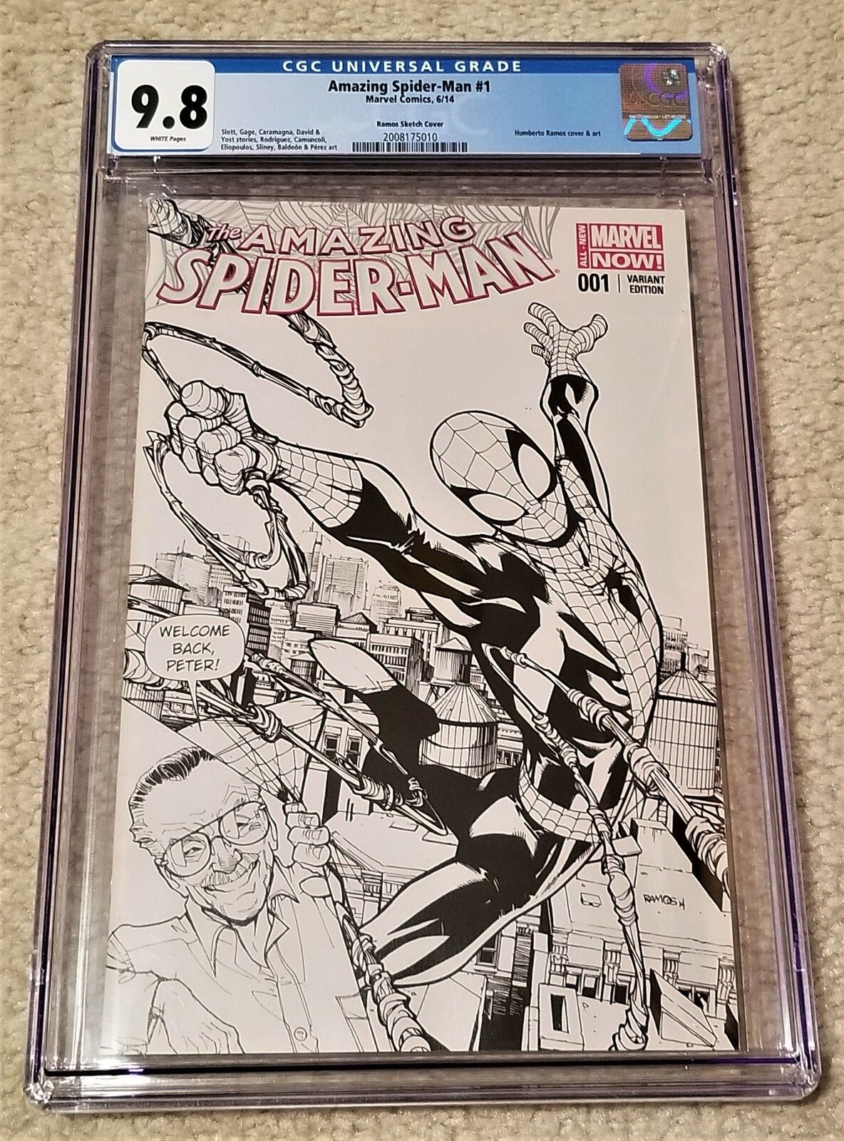 AMAZING SPIDER-MAN #1 CGC 9.8 HUMBERTO RAMOS STAN LEE FAN EXPO B&W VARIANT