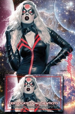 Black Cat 1 Mike Mayhew Venomized Knullified King in Black Knull Venom Amazing Spider-man Virgin Variant DC Comics Marvel Comics X-Men Batman East Side Comics Virgin Exclusive cgc signed ss comics