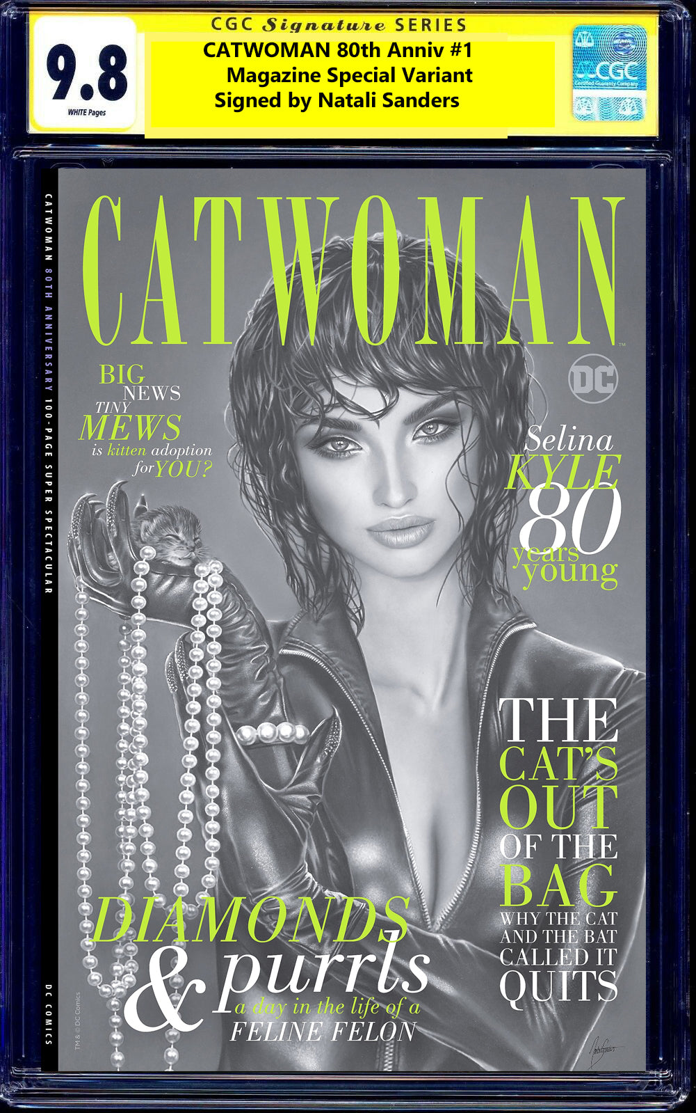 Catwoman 80th Anniversary 1 Natali Sanders Batman Harley Quinn Virgin Variant DC Comics Marvel Comics X-Men Venom Spider-man East Side Comics Virgin Exclusive cgc signed ss comics