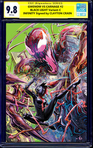 GWENOM VS CARNAGE #2 CGC SS 9.8 CLAYTON CRAIN BLACK LIGHT VIRGIN VARIANT