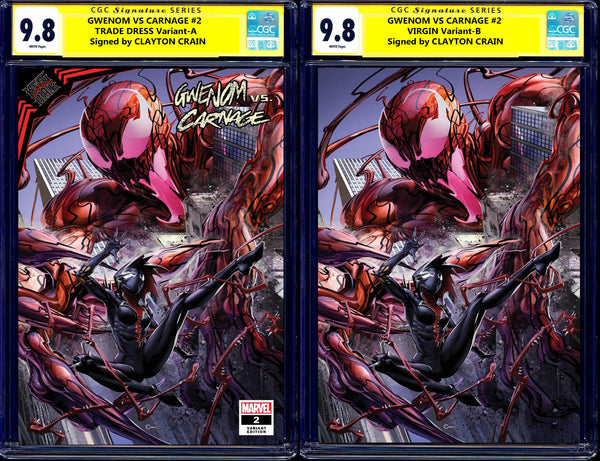 Gwenom Vs Carnage 2 1 Clayton Crain Incredible Hulk 344 Todd McFarlane Venom Amazing Spider-man Virgin Variant DC Comics Marvel Comics X-Men Batman East Side Comics Virgin Exclusive cgc signed ss comics