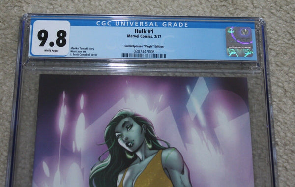 HULK #1 CGC 9.8 J SCOTT CAMPBELL SHE-HULK GOLD VIRGIN VARIANT 500 PT RUN