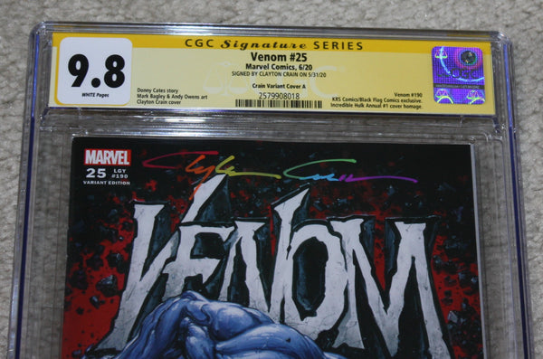 VENOM #25 CGC SS 9.8 CLAYTON CRAIN INFINITY SIGNED HULK KING SIZE HOMAGE RED VARIANT