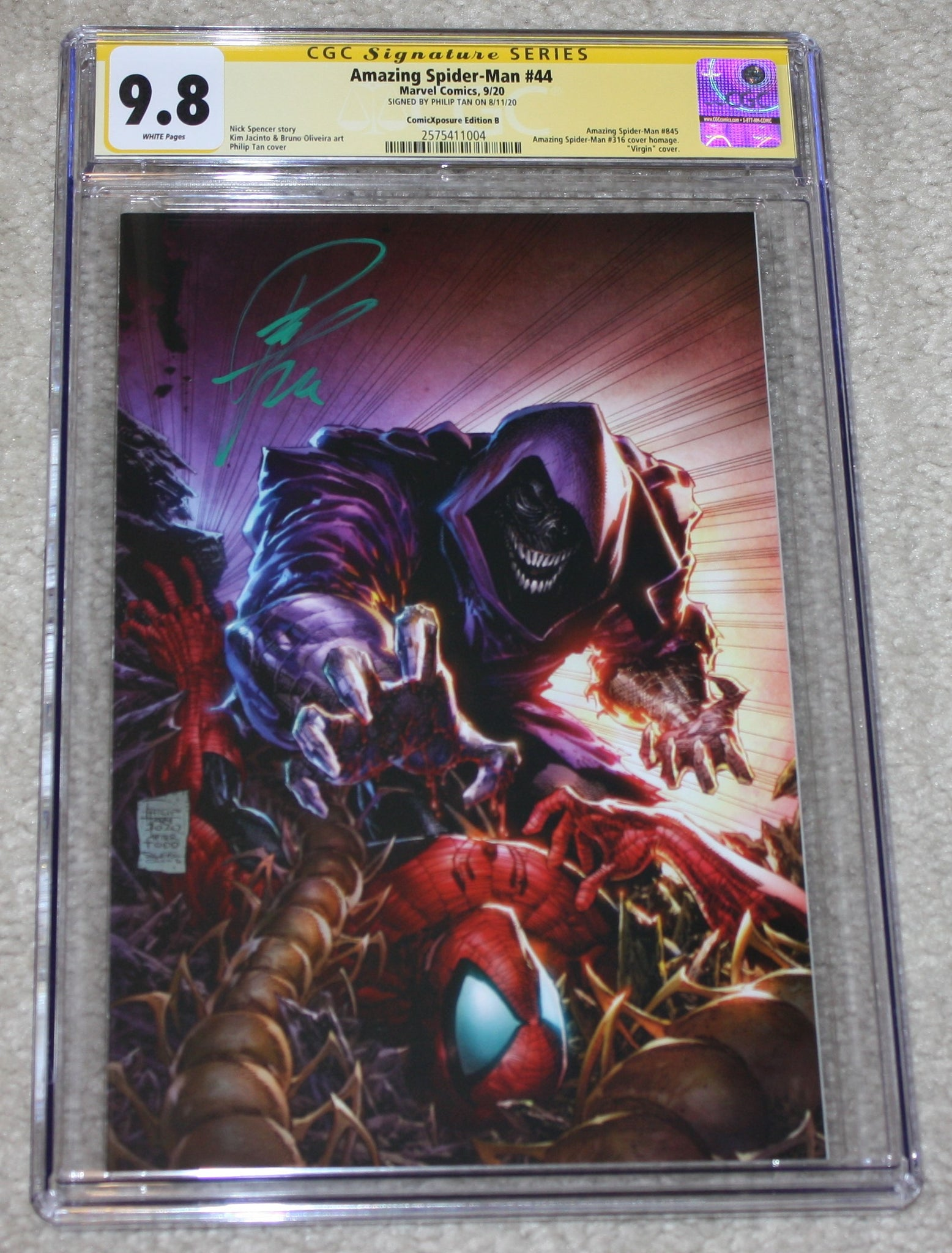 Amazing Spider-man 44 Philip Tan 316 Todd McFarlane Homage Venom Kindred Virgin Variant DC Comics Marvel Comics X-Men Batman East Side Comics Virgin Exclusive cgc signed ss comics