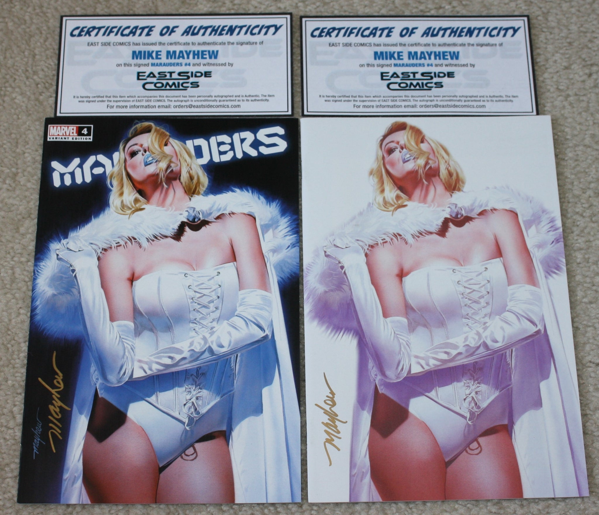 MARAUDERS #4 MIKE MAYHEW SIGNED COAs WHITE QUEEN LOGO & VIRGIN EXCLUSIVE VARIANTS