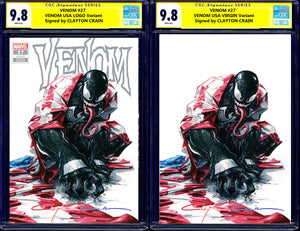 Venom 27 Clayton Crain Carnage USA Virus Codex Carnage Homage Amazing Spiderman Todd McFarlane Variant DC Comics Marvel Comics X-Men Batman Harley Quinn  East Side Comics Virgin Exclusive cgc signed ss comics