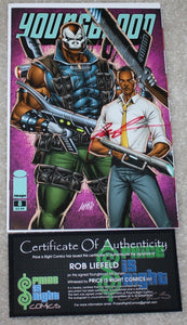 YOUNGBLOOD 8 OBAMA EMERALD CITY COMIC CON PURPLE VARIANT LIEFELD SIGNED COA
