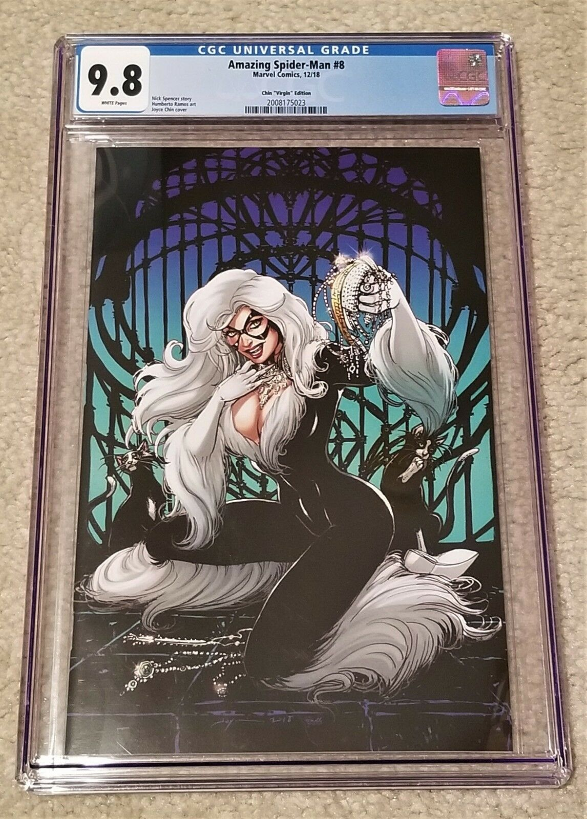 AMAZING SPIDER-MAN 8 CGC 9.8 JOYCE CHIN BLACK CAT BLUE VIRGIN VARIANT