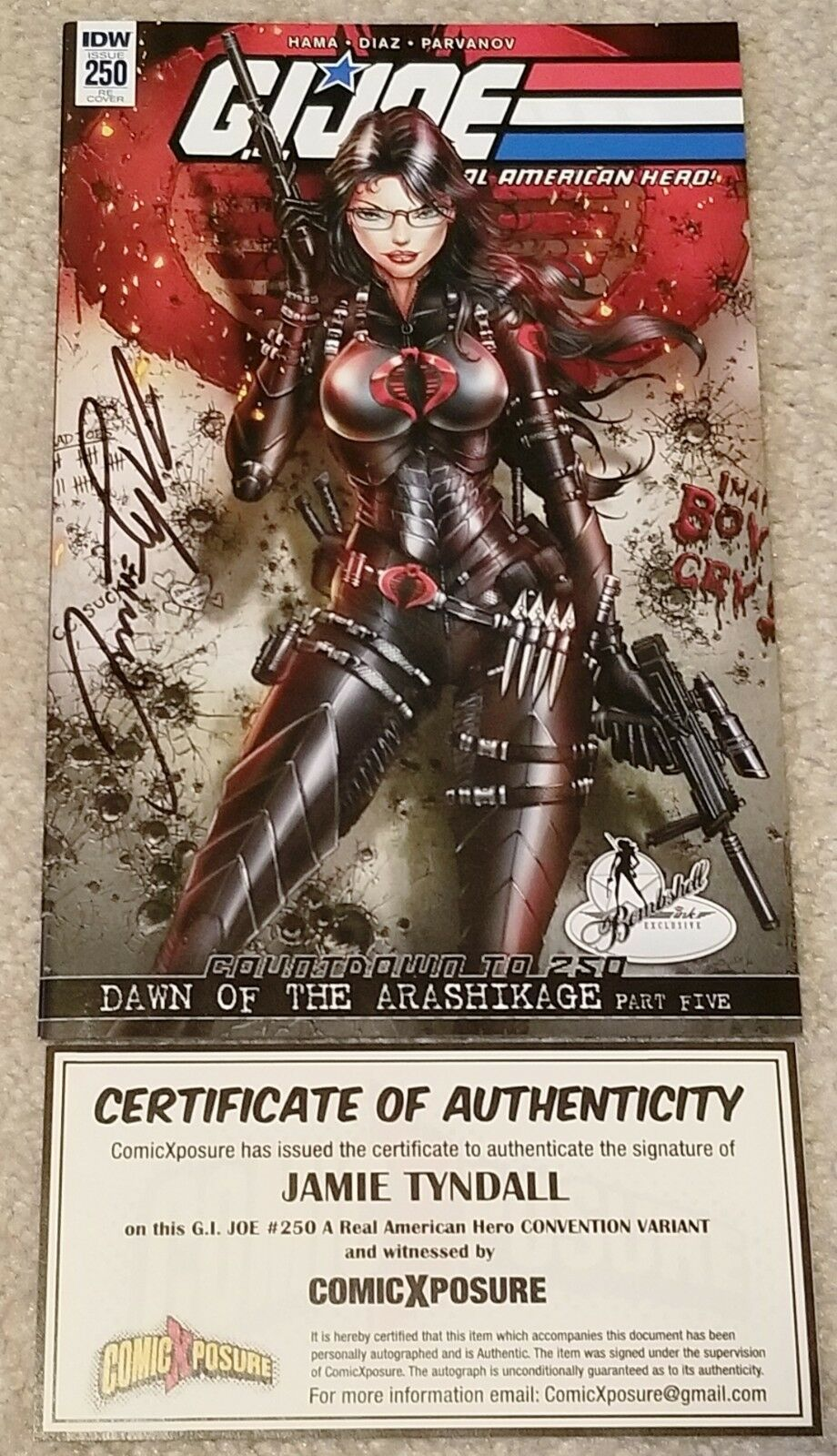 G.I. JOE #250 JAMIE TYNDALL SIGNED BARONESS CONVENTION EXCLUSIVE VARIANT COA