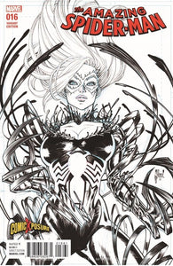 AMAZING SPIDER-MAN #16 GUILLEM MARCH VENOM-IZED BLACK CAT B&W EXCLUSIVE VARIANT