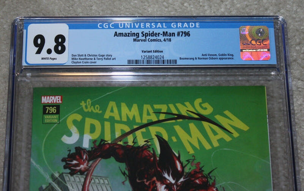 AMAZING SPIDER-MAN 796 CGC 9.8 CLAYTON CRAIN COMICXPOSURE VARIANT RED GOBLIN