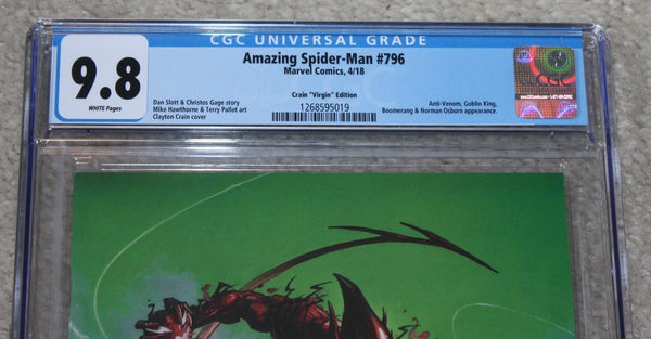 AMAZING SPIDER-MAN 796 CGC 9.8 CLAYTON CRAIN VIRGIN VARIANT RED GOBLIN