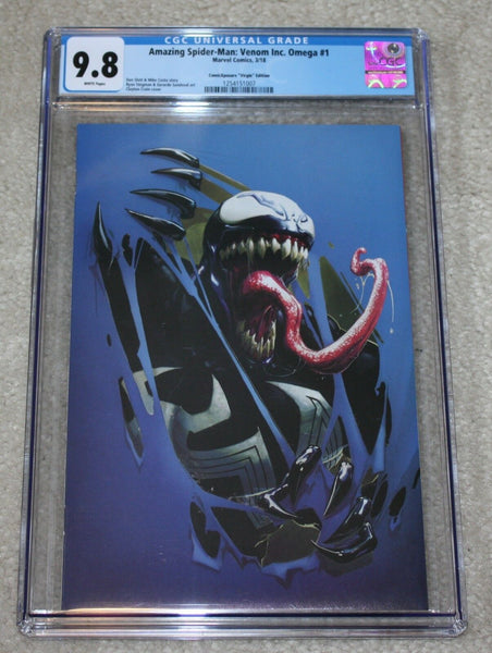 VENOM INC OMEGA #1 CGC 9.8 CLAYTON CRAIN BLUE VIRGIN VARIANT SPIDER-MAN