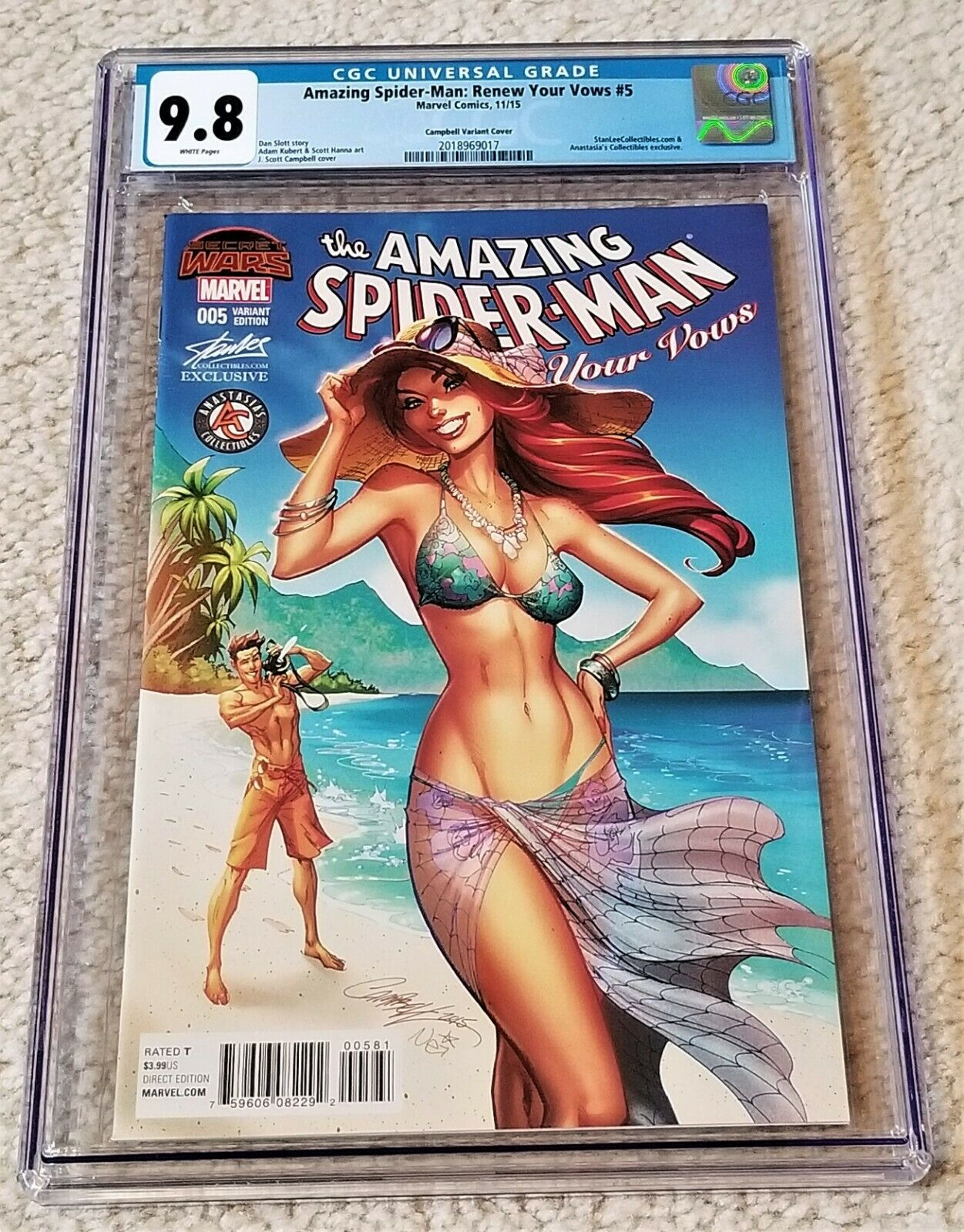 Amazing Spider-man Renew Your Vows 5 J Scott Campbell Mary Jane Stan Lee Variant Marvel Comics East Side Comics Exclusive CGC