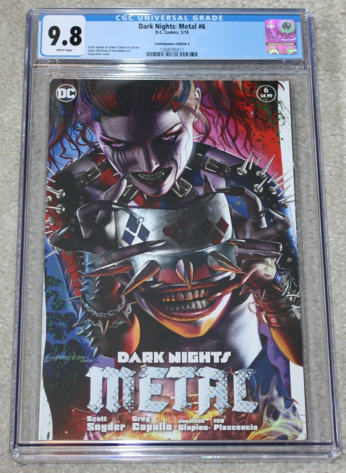 Dark Nights Metal Harley Quinn Variant Greg Horn DC Comics Batman Who Laughs Harley Who Laughs East Side Comics Comicxposure Exclusive cgc