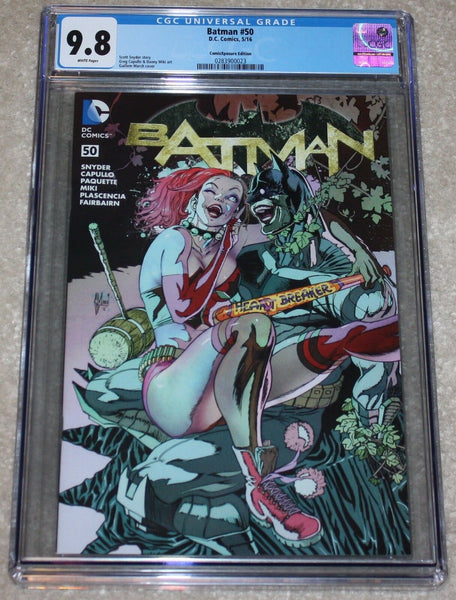 Batman 50 Harley Quinn Virgin Variant Guillem March DC Comics Batman Harley Who Laughs East Side Comics Comicxposure Exclusive cgc Joker Grim Knight