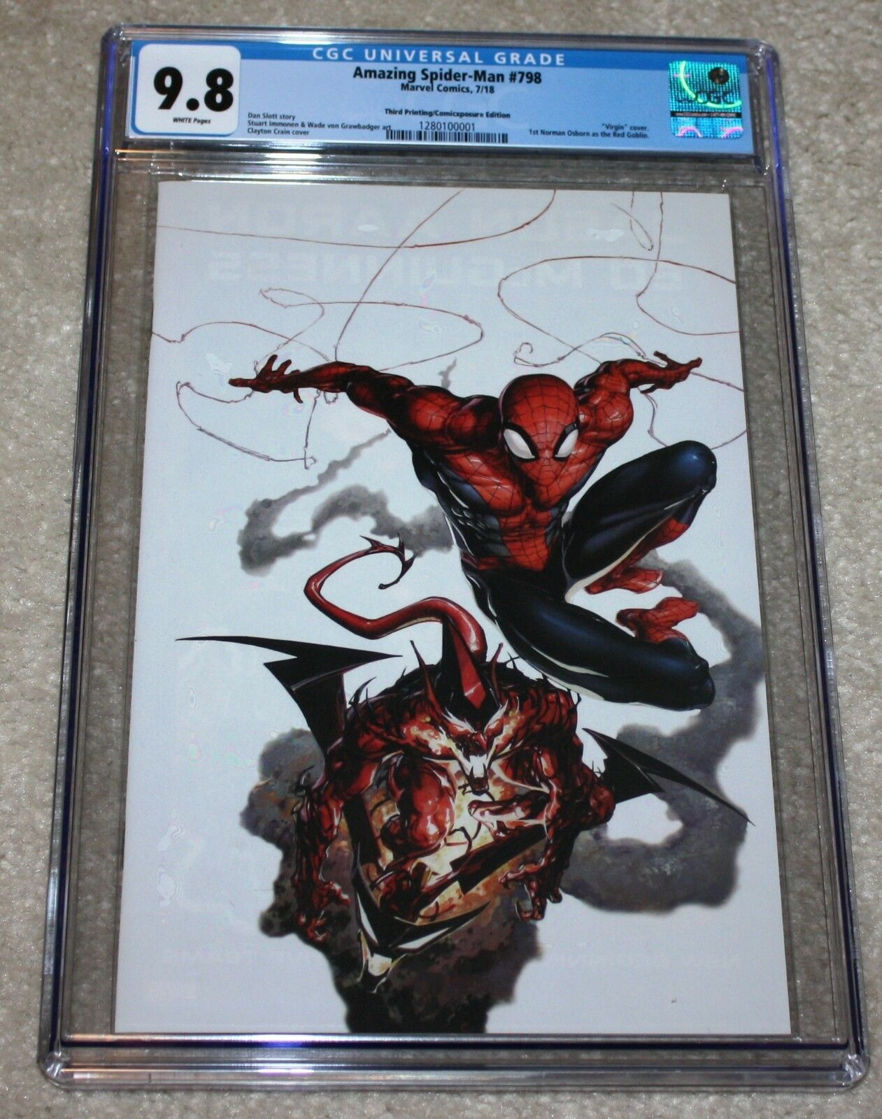AMAZING SPIDER-MAN 798 CGC 9.8 CLAYTON CRAIN WHITE VIRGIN VARIANT RED GOBLIN