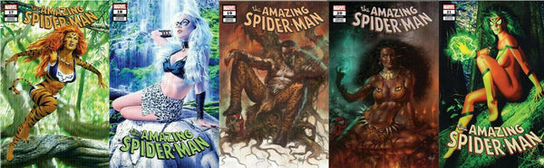AMAZING SPIDER-MAN #17 18 19 20 21 MIKE MAYHEW LUCIO PARRILLO TRADE DRESS / LOGO VARIANT 5-PK HUNTED