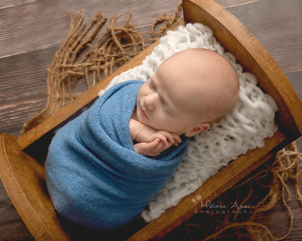 Natural Wooden Newborn Bed - Wooden Photo Props - Newborn Photo Props Canada - Tiny Tot Prop Shop - Canadian Photography Props