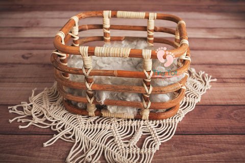 Bamboo Basket - Wooden Photo Props - Newborn Photo Props Canada - Tiny Tot Prop Shop
