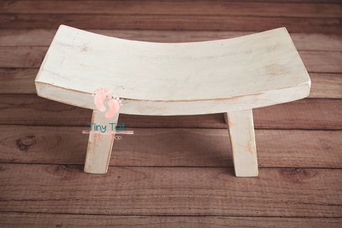 White Curved Sitter Bench - Wooden Photo Props - Newborn Photo Props Canada - Tiny Tot Prop Shop