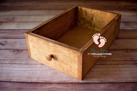 Natural Treasure Box Drawer - Wooden Photo Props - Newborn Photo Props Canada - Tiny Tot Prop Shop