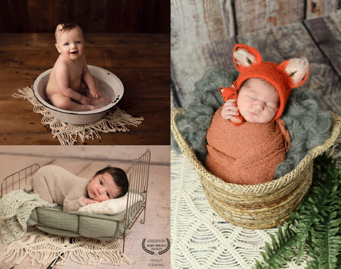 Signature Cream Macrame Layer - Textured Layers - Tiny Tot Prop Shop - Newborn Photo Props Canada - Canadian Photography Props