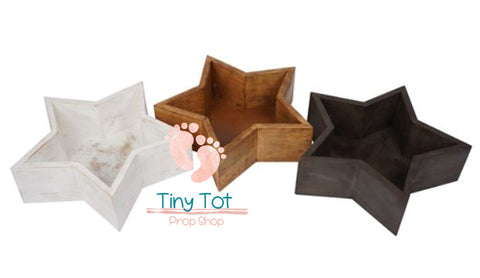 Wooden Stars Bowl - Wooden Photo Props - Newborn Photo Props Canada - Tiny Tot Prop Shop