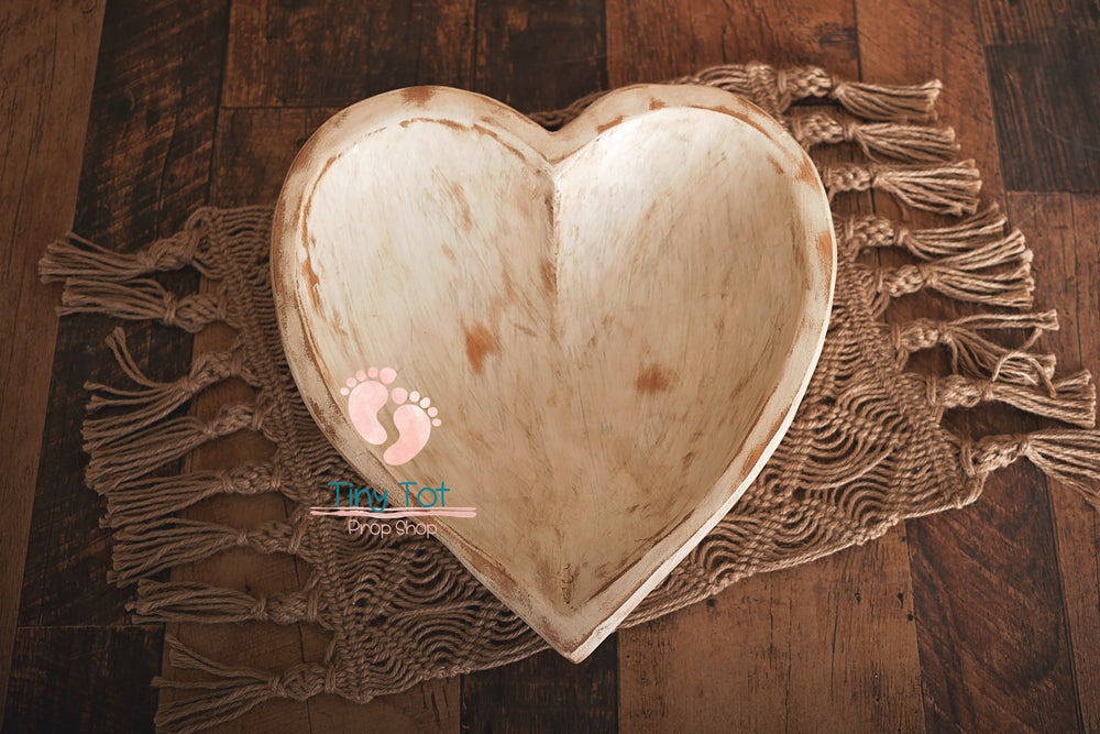 Carved Wooden Heart Shaped Bowls - Newborn Photo Props - Shop for Newborn Photo Props Online - Tiny Tot Prop Shop