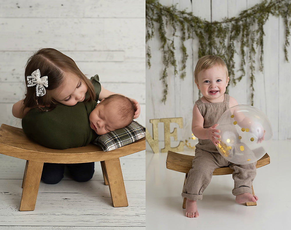 Rustic Curved Bench - Newborn Photo Props Canada - Tiny Tot Prop Shop - Wooden Photo Props - Canadian Photography Props