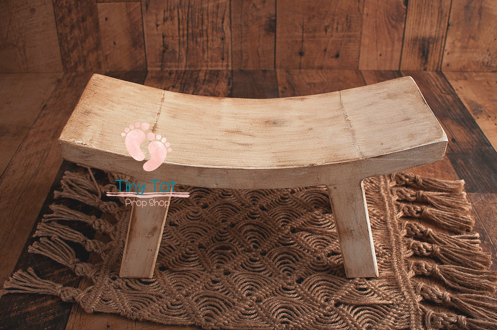 Pre-Order Rustic Curved Bench - Newborn Photo Props - Shop for Newborn Photo Props Online - Tiny Tot Prop Shop