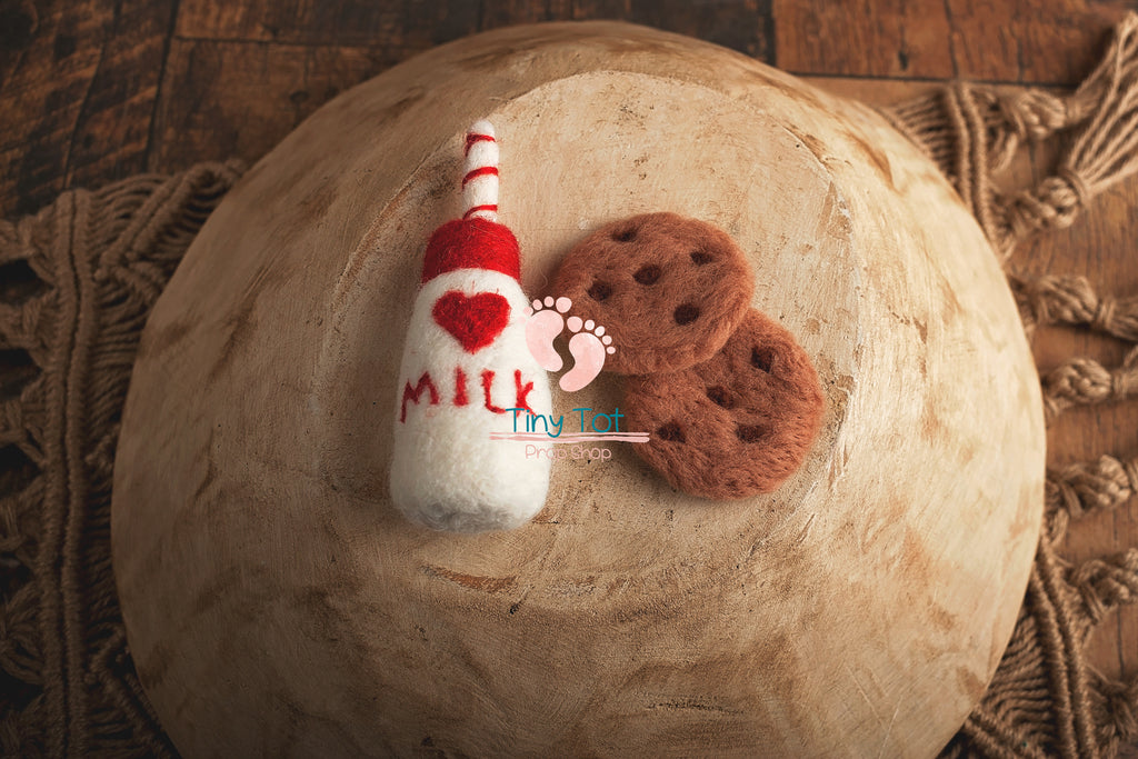 Milk and Cookies Photo Prop - Felt Milk Prop - Felt Cookies - Felt Milk Bottle Props - Newborn Photo Props Canada - Tiny Tot Prop Shop - Canadian Photography Props - Vancouver Island