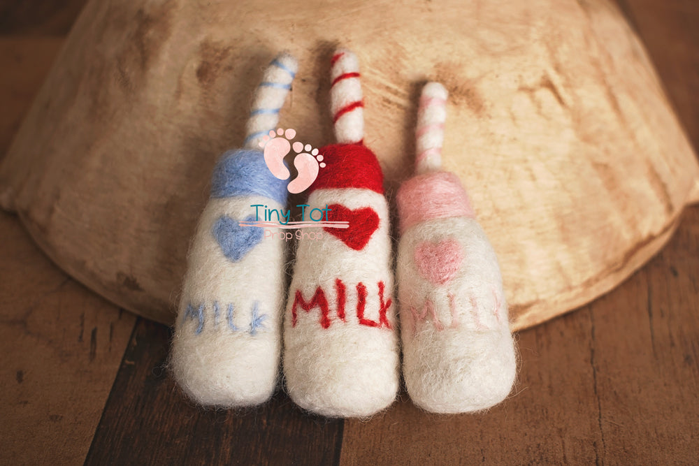 Newborn Felt Milk Bottle - Newborn Photo Props - Shop for Newborn Photo Props Online - Tiny Tot Prop Shop