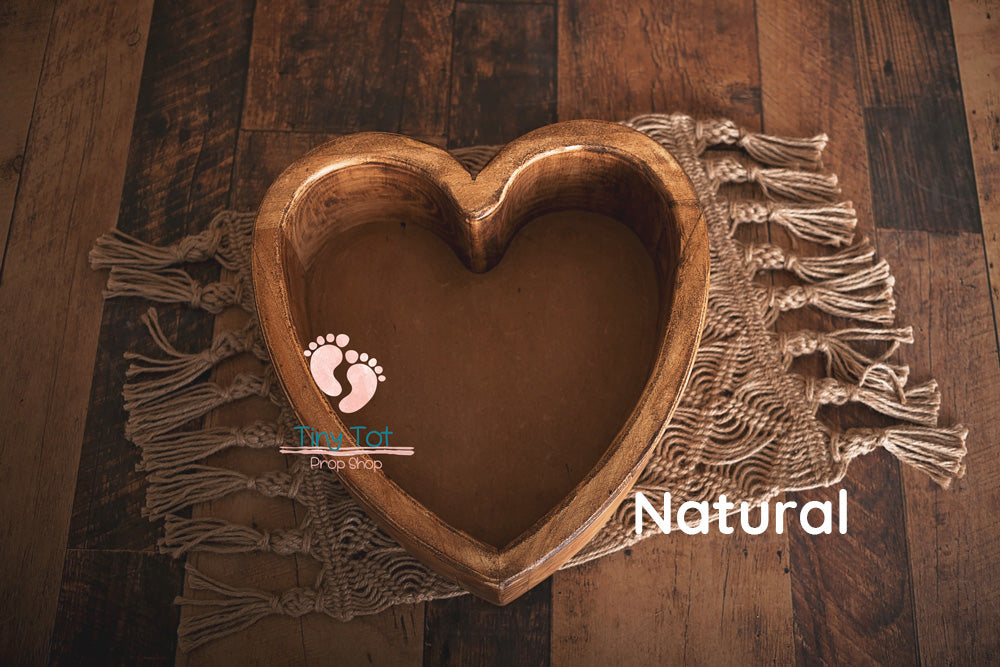 Wooden Heart Shaped Bowl - Canadian Photography Props - Wooden Photo Props - Heart Bowl - Wood Heart Bowl - Newborn Photo Props Canada - Tiny Tot Prop Shop - Photography Props - Photo Props