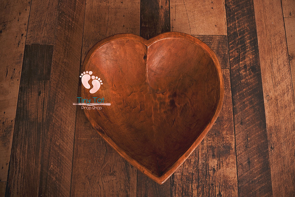 Large Carved Wooden Heart Shaped Bowls - Newborn Photo Props - Shop for Newborn Photo Props Online - Tiny Tot Prop Shop