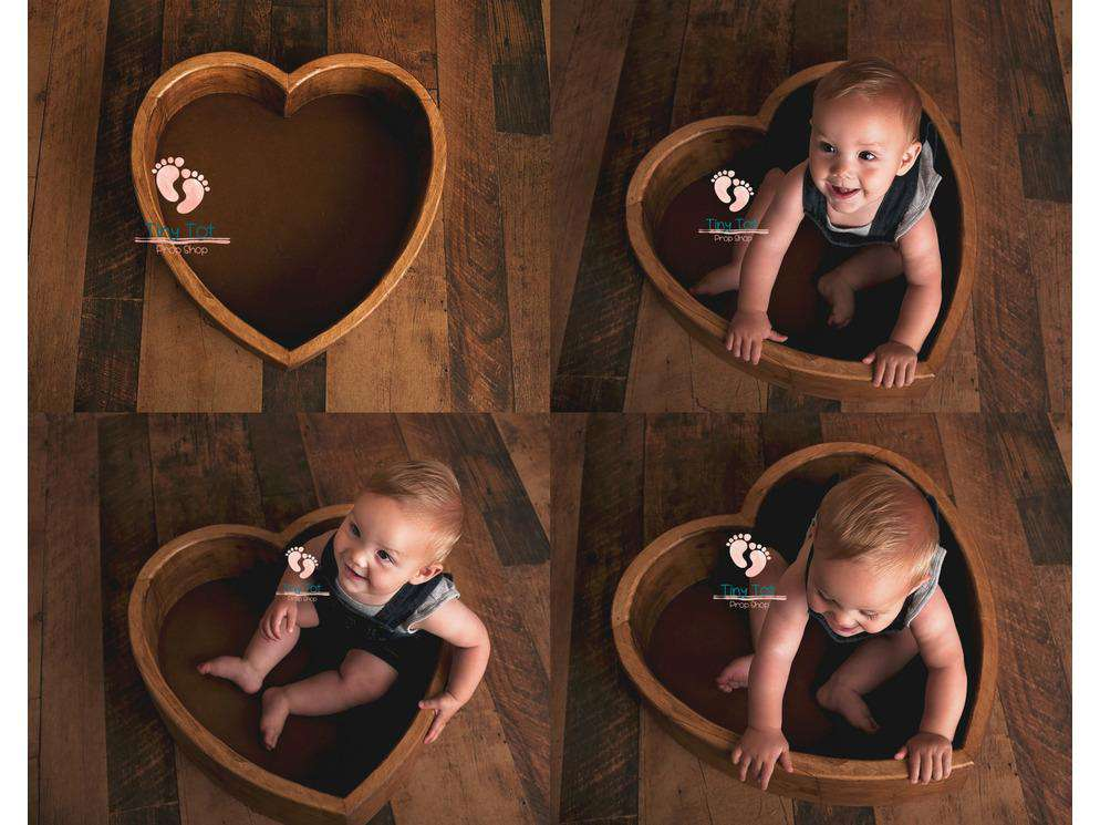 Large Wooden Heart Shaped Bowl - Canadian Photography Props - Wooden Photo Props - Heart Bowl - Wood Heart Bowl - Newborn Photo Props Canada - Tiny Tot Prop Shop - Photography Props - Photo Props