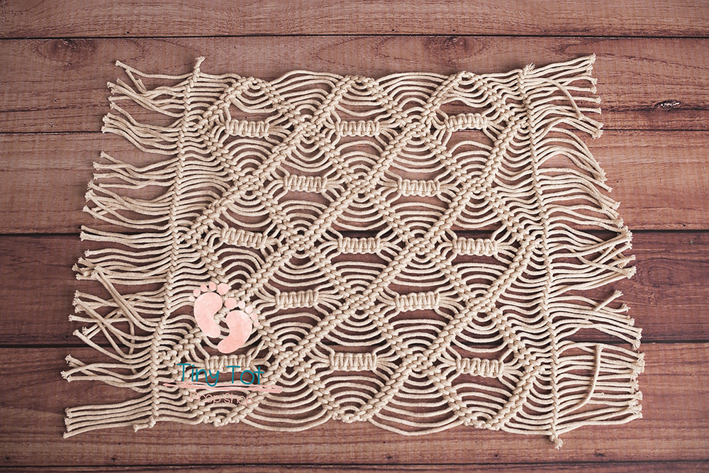 Signature Macrame Layer - Cream Macrame Layer - Textured Macrame - Textured Layer - Modern Macrame - Newborn Photo Props Canada - Tiny Tot Prop Shop - Canadian Photography Props - Vancouver Island