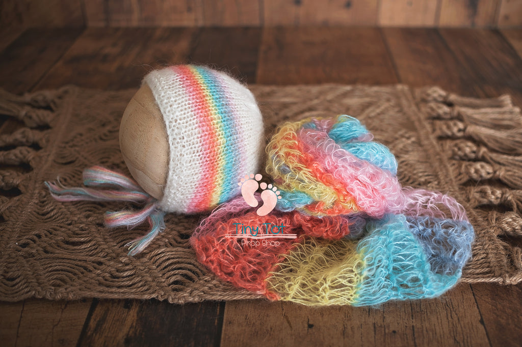 Rainbow Baby Wrap - Rainbow Bonnet - Rainbow Mohair Knit Wrap Set - Rainbow Baby Photo Prop - Rainbow Baby - Newborn Photo Props Canada - Tiny Tot Prop Shop - Canadian Photography Props