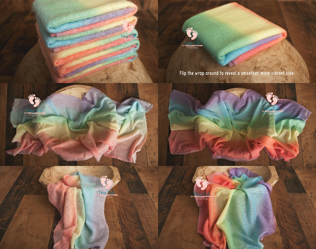 Soft Vibrant Rainbow Knit Wrap - Newborn Photo Props - Shop for Newborn Photo Props Online - Tiny Tot Prop Shop