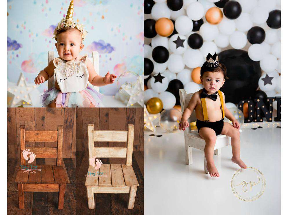 Pre-Order Rustic Wooden Chair - Newborn Photo Props - Shop for Newborn Photo Props Online - Tiny Tot Prop Shop
